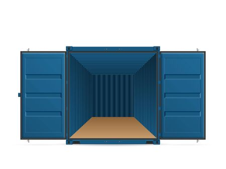 Open shipping cargo container on a white background. Vector illustration. Vettoriali