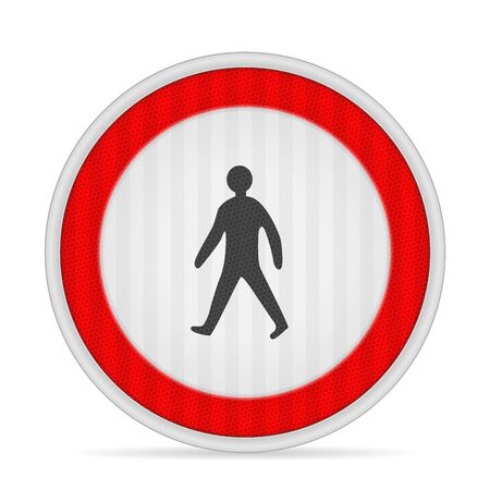 No pedestrians road sign on a white background. Vector illustration.