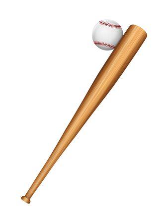 Baseball bat and ball on a white background. Vector illustration. Ilustración de vector