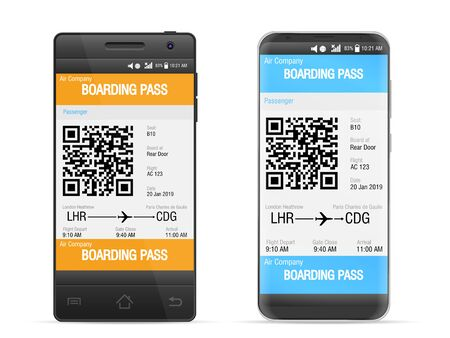 Boarding pass mobile on a white background. Vector illustration.