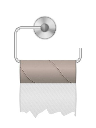 Empty toilet paper roll on a white background. Vector illustration.