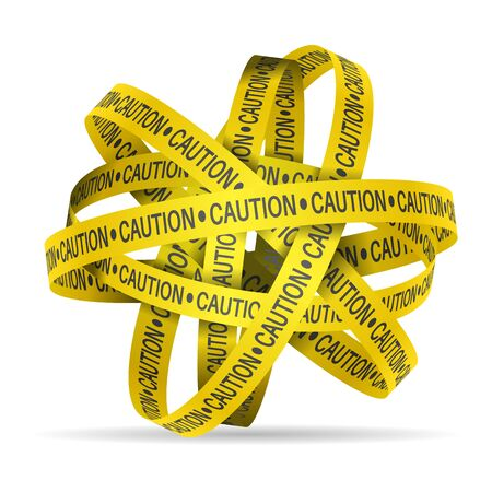 Caution tape on a white background. Vector illustration.