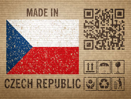 Cardboard made in Czech Republic, textured background. Vector illustration.