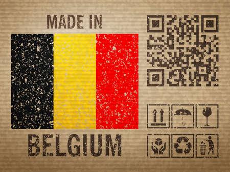 Cardboard made in Belgium, textured background. Vector illustration. Vector Illustratie