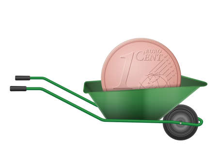 One euro cent in wheelbarrow on a white background.