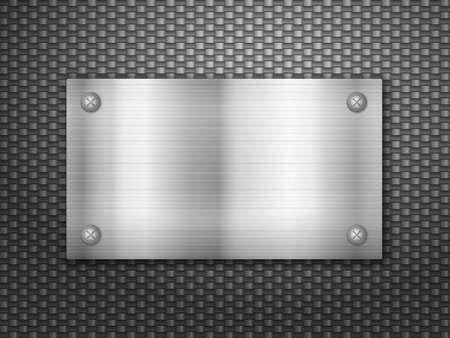 Metal plate on a carbon background. Vector illustration. Illustration
