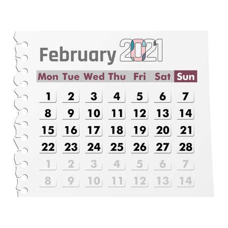 Calendar February 2021 on a white background. Vector illustration.