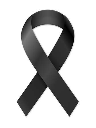 Mourning ribbon on a white background. Vector illustration.