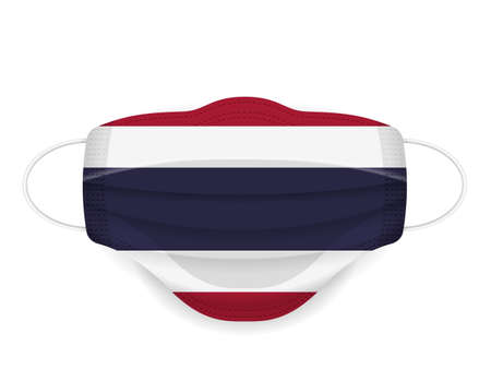 Medical mask Thailand flag on a white background. Vector illustration.