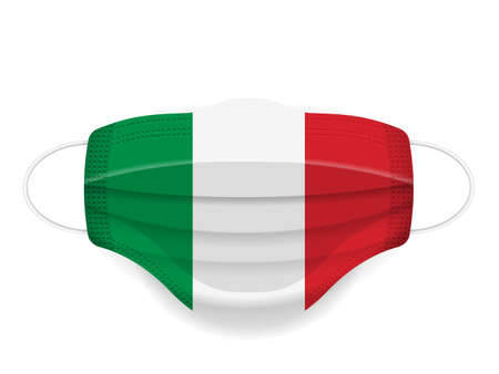 Medical mask Italy flag on a white background. Vector illustration.