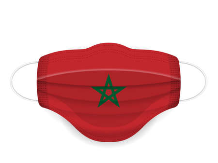 Medical mask Morocco flag on a white background. Vector illustration.