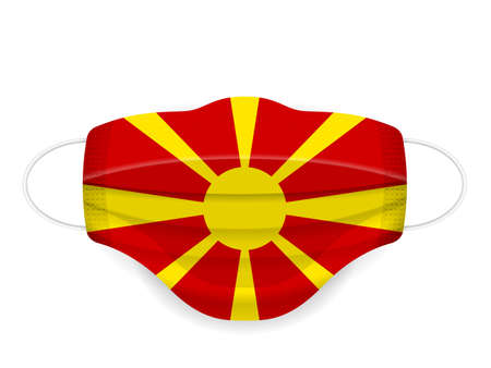 Medical mask North Macedonia flag on a white background. Vector illustration.