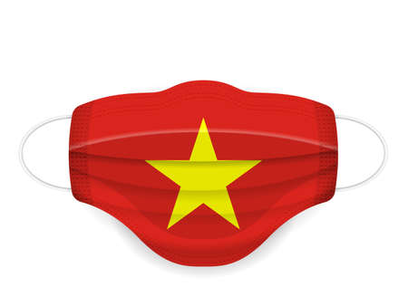 Medical mask Vietnam flag on a white background. Vector illustration.