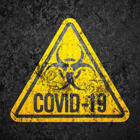 Covid-19 sign grunge texture background. Vector illustration.