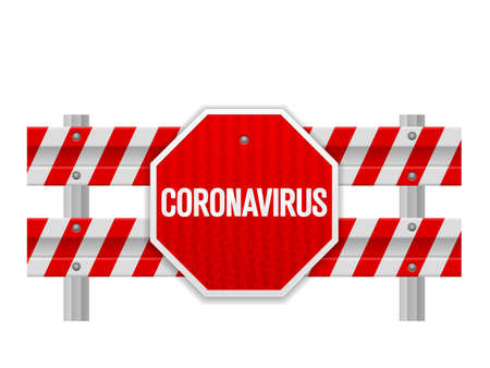 Road safety barrier coronavirus on a white background. Vector illustration. Ilustração