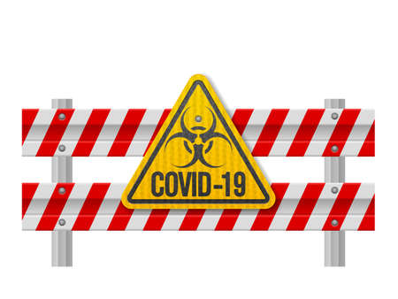 Road safety barrier covid-19 on a white background. Vector illustration. Ilustração