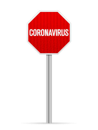 Road sign coronavirus on a white background. Vector illustration.
