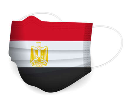 Medical mask Egypt flag on a white background. Vector illustration. 일러스트