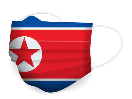 Medical mask North Korea flag on a white background. Vector illustration.