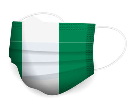 Medical mask Nigeria flag on a white background. Vector illustration. 일러스트