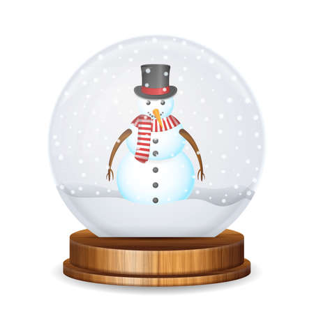 Snow globe with snowman on a white background. Vector illustration. Stock Illustratie