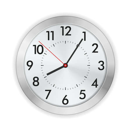 Wall clock on a white background. Vector illustration.