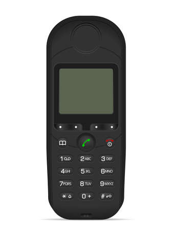 Classic mobile phone on a white background. Vector illustration.