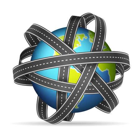 World globe road tape on a white background. Vector illustration.