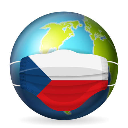 World globe with medical mask Czech Republic flag on a white background. Vector illustration.