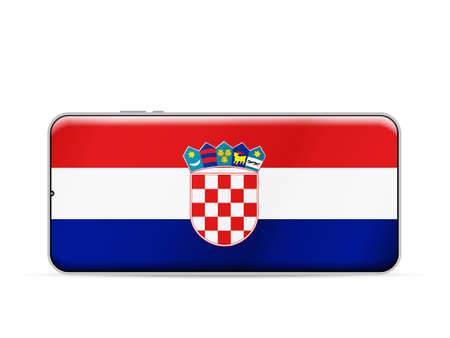 Croatia flag on smartphone screen. Vector illustration.