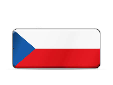 Czech Republic flag on smartphone screen. Vector illustration.