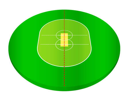 Cricket field on a white background. Vector illustration.