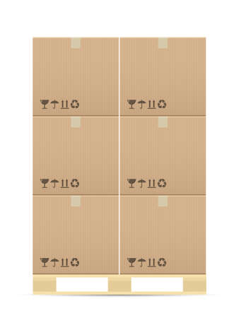 Pasteboard boxes on wooded pallet. Vector illustration.