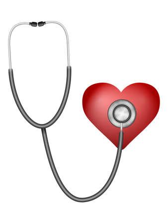 Stethoscope amd heart on a white background. Vector illustration.