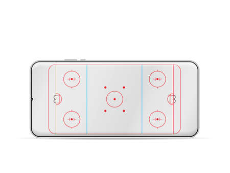Smartphone hockey rink on a white background. Vector illustration.