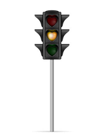 Traffic light heart shape on a white background. Vector illustration.