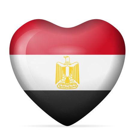 Heart Egypt flag on a white background. Vector illustration.