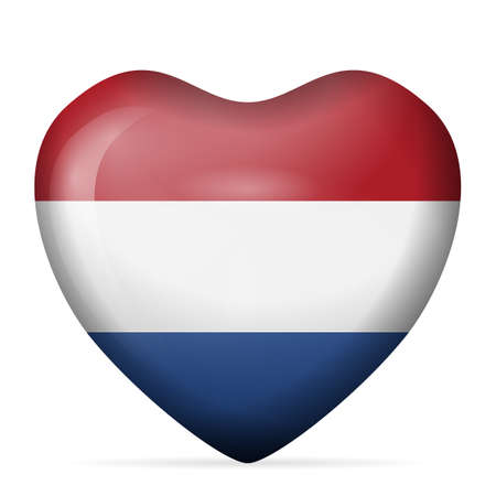 Heart Netherlands flag on a white background. Vector illustration. Vectores
