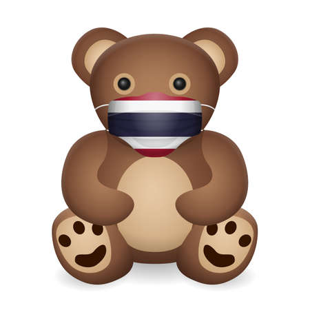 Teddy bear with medical mask Thailand flag on a white background. Vector illustration.
