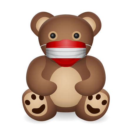 Teddy bear with medical mask Austria flag on a white background. Vector illustration.