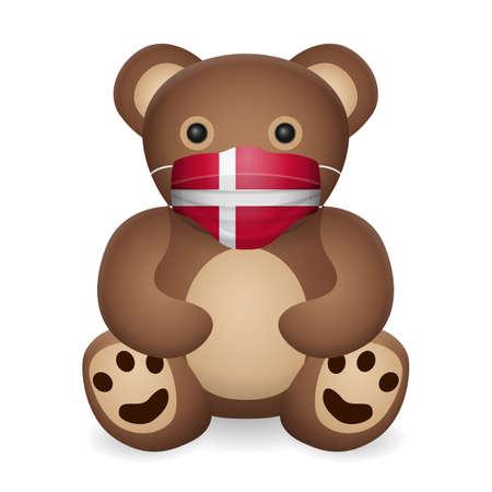Teddy bear with medical mask Denmark flag on a white background. Vector illustration.