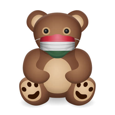 Teddy bear with medical mask Hungary flag on a white background. Vector illustration.