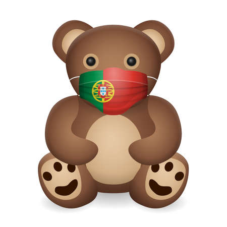 Teddy bear with medical mask Portugal flag on a white background. Vector illustration.
