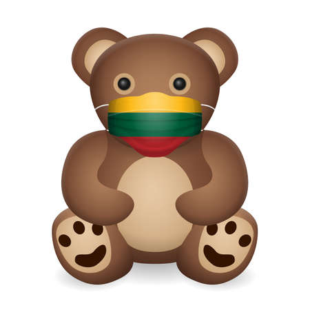 Teddy bear with medical mask Lithuania flag on a white background. Vector illustration.