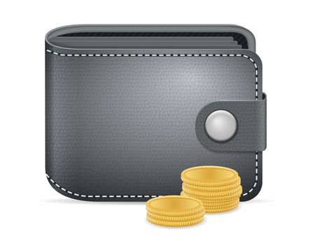Wallet and coins on a white background.
