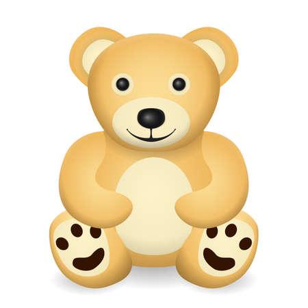 Teddy bear on a white background. Vector illustration.