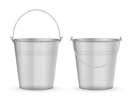 Metal bucket set on a white background. Vector illustration. Vector Illustration