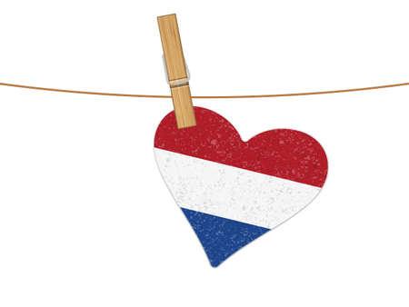 Heart Netherlands flag on clothesline. Vector illustration on a white background.