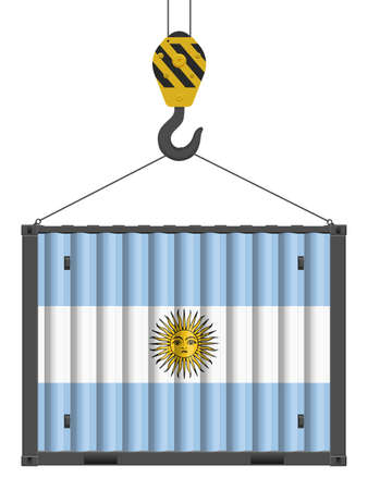Hooked cargo container with Argentina flag on a white background. Vector illustration.