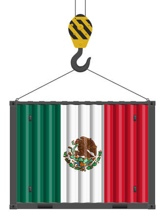 Hooked cargo container with Mexico flag on a white background. Vector illustration. Vecteurs